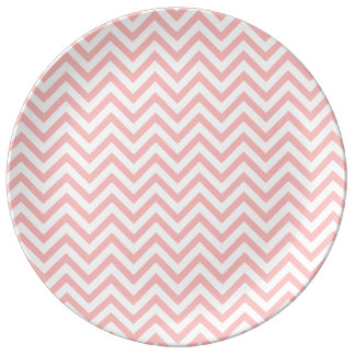 Pink and White Zigzag Stripes Chevron Pattern Plate