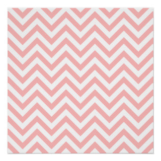 Pink and White Zigzag Stripes Chevron Pattern Poster