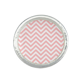 Pink and White Zigzag Stripes Chevron Pattern Ring
