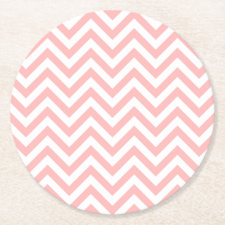 Pink and White Zigzag Stripes Chevron Pattern Round Paper Coaster