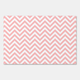Pink and White Zigzag Stripes Chevron Pattern Sign