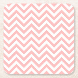 Pink and White Zigzag Stripes Chevron Pattern Square Paper Coaster