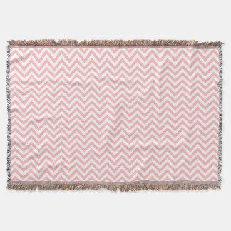 Pink and White Zigzag Stripes Chevron Pattern Throw Blanket