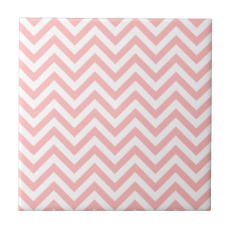 Pink and White Zigzag Stripes Chevron Pattern Tile