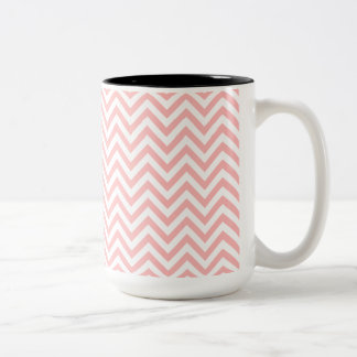 Pink and White Zigzag Stripes Chevron Pattern Two-Tone Coffee Mug