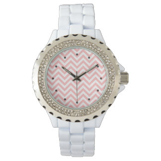 Pink and White Zigzag Stripes Chevron Pattern Watch