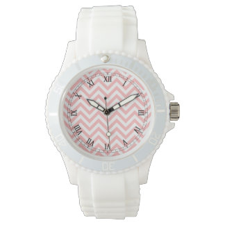 Pink and White Zigzag Stripes Chevron Pattern Watches
