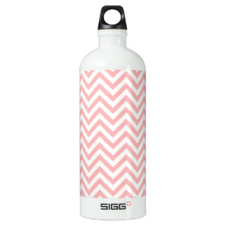 Pink and White Zigzag Stripes Chevron Pattern Water Bottle