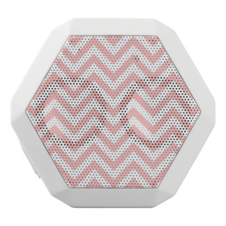 Pink and White Zigzag Stripes Chevron Pattern White Bluetooth Speaker