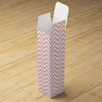 Pink and White Zigzag Stripes Chevron Pattern Wine Gift Box