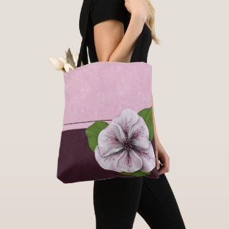 Pink and Wine Floral Colorblock Tote Bag