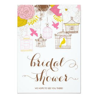 """Pink and Yellow Birdcage Spring Bridal Shower II 5"""" X 7"""" Invitation Card"""
