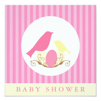 Pink and Yellow Birds Nest Baby Shower Card