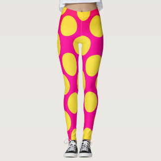 Pink and Yellow Bubbles 70's Style Leggings