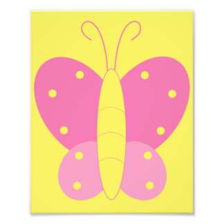 Pink and Yellow Butterfly Print