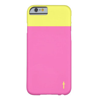 Pink and Yellow Cross Barely There iPhone 6 Case