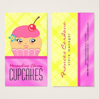 Pink and Yellow Cupcake Character Baker Bakery Business Card
