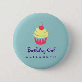 Pink and Yellow Cupcake Cherry On Top Birthday 2 Inch Round Button