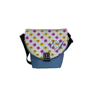 Pink and Yellow Daisies Customizable Monogram Commuter Bag