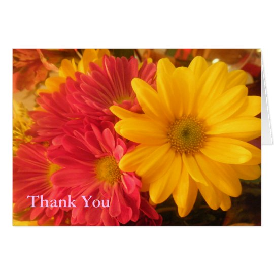 Pink and Yellow Daisies Thank You Card