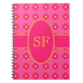 Pink and Yellow Daisy Monogram Notebook