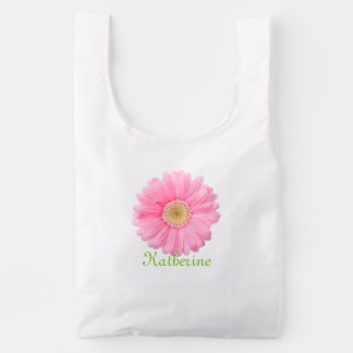 Pink and Yellow Daisy on White Personalized