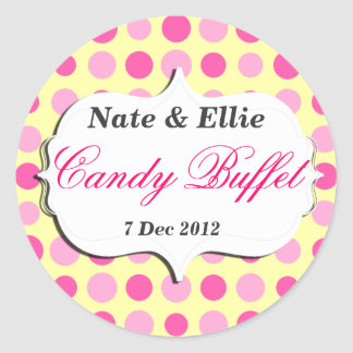 Pink and yellow dotty Candy Buffet Sticker
