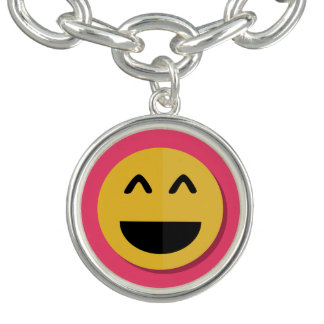 Pink and Yellow Emoji Charm Bracelet