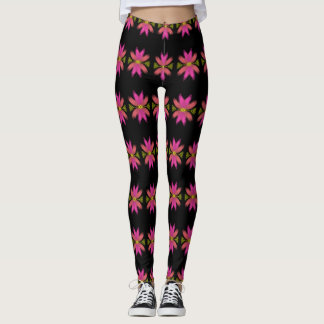 Pink and Yellow Feathery Flower Pattern Leggings