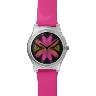 Pink and Yellow Feathery Flower Watch