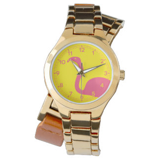 Pink And Yellow Flamingo Silhouette Watch