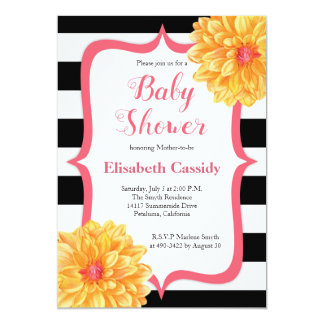 Pink and Yellow Floral Baby Shower Invitation