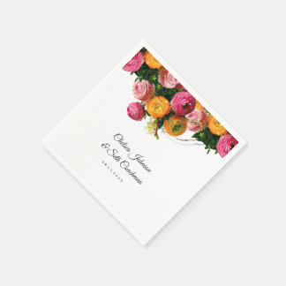 Pink and Yellow Floral Garden Disposable Napkins