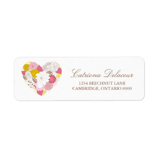Pink and Yellow Floral Heart Return Address Label