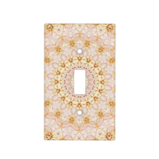 Pink and Yellow Floral Mandala Art Designer Light Switch Cover