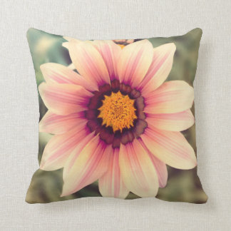 Pink and yellow flower pillow