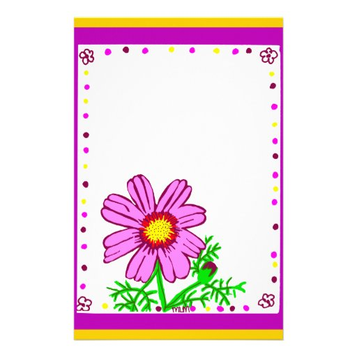 Pink and Yellow flower stationary Custom Stationery