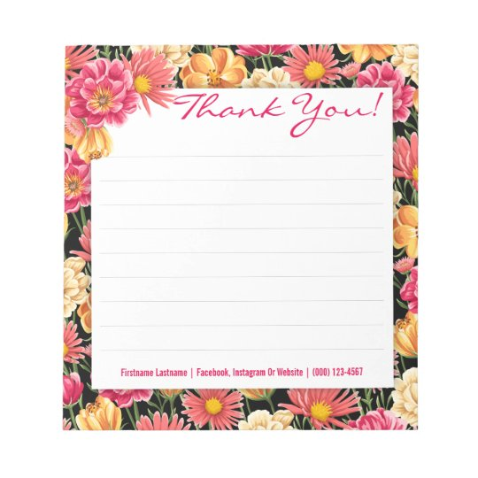 Pink and Yellow Flowers Custom Notepad