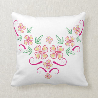 Pink And Yellow Flowers - Floral Art Decorative Throw Pillow