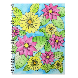 Pink and Yellow Flowers Notebook