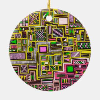 Pink and Yellow Geometric shapes pop art punk Ornaments