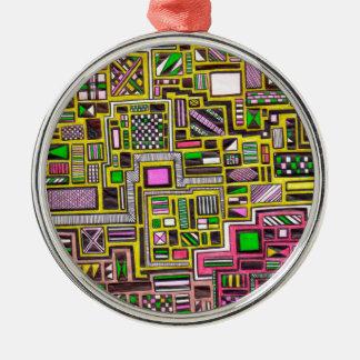Pink and Yellow Geometric shapes pop art punk Ornament