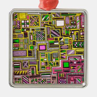 Pink and Yellow Geometric shapes pop art punk Christmas Tree Ornaments