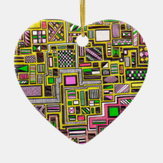 Pink and Yellow Geometric shapes pop art punk Christmas Ornament