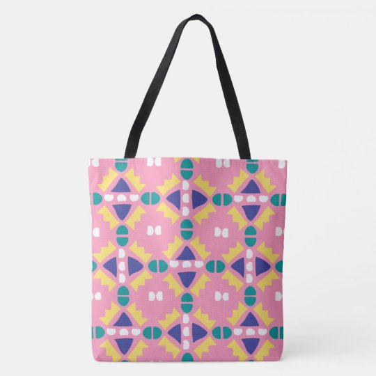 Pink and Yellow Geometric - Tote Bag