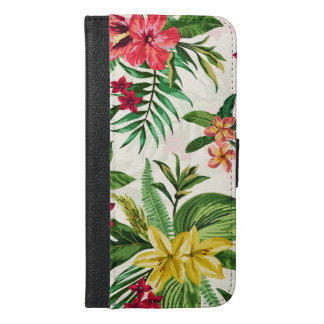 Pink And Yellow Hawaiian Exotic Floral Pattern iPhone 6/6s Plus Wallet Case