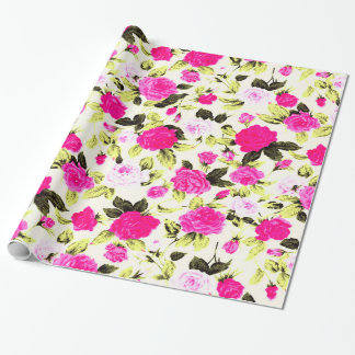 Pink and Yellow Hipster Floral Rose Pattern Wrapping Paper