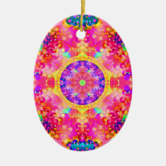 Pink and Yellow Kaleidoscope Fractal Ceramic Ornament