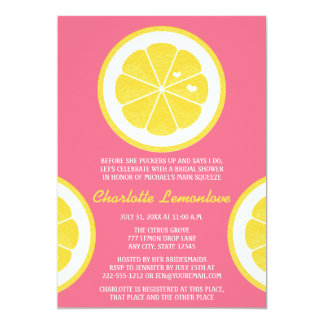 PINK AND YELLOW LEMON THEMED BRIDAL SHOWER 5X7 PAPER INVITATION CARD