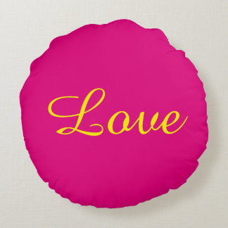Pink and Yellow Love Round Pillow